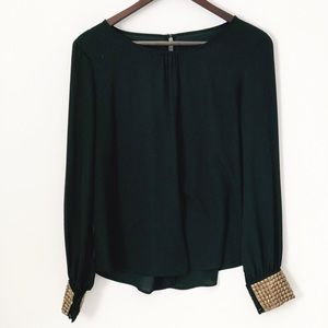 Black Long Sleeved Blouse with Gold Studded Cuffs